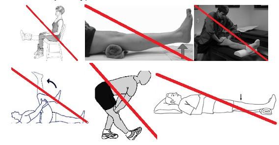 ćwiczenia których nie należy wykonywać w przypadku uszkodzeniu więzadła krzyżowego